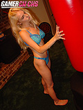 Liz Ashley Sexy Blonde Punching Bag Girl